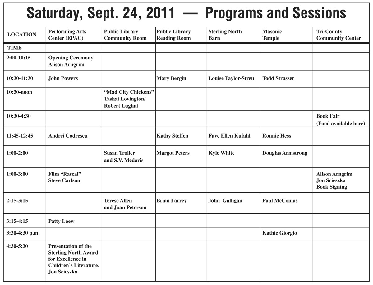 Saturday, Sept. 24 schedule from 9am to 5:30pm