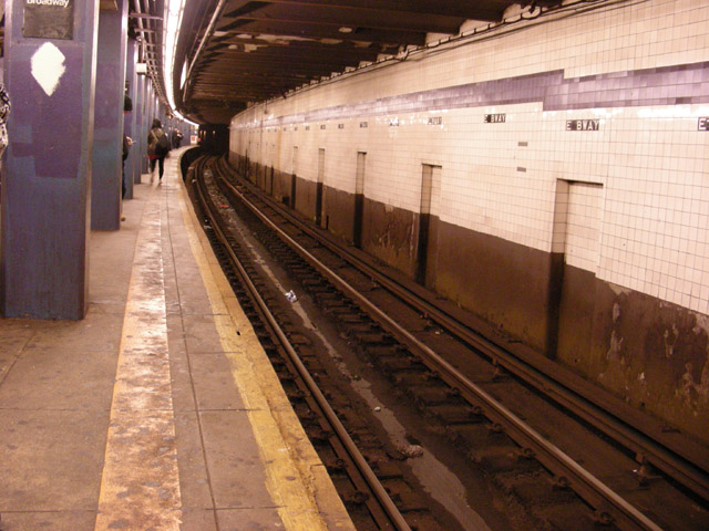 looking down the subway tunnel