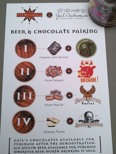 Chocolate and Beer pairings list with Gail Ambrosius and Ale Asylum