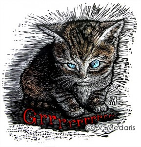 "blockprint of ferocious kitten with text ""Grrrrrr"""
