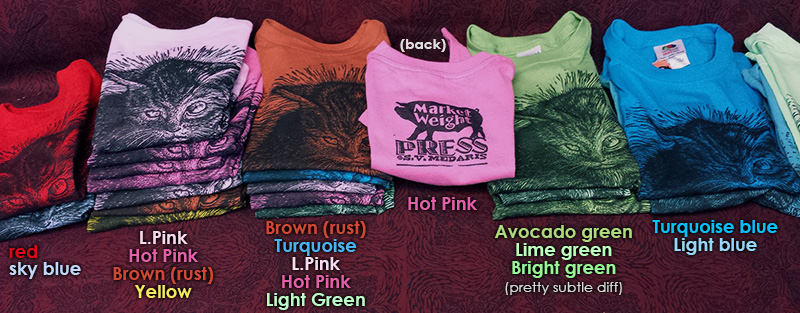 brightly colored toddler t-shirts block-printed with kitten on front, and Market Weight Press logo (hog) on back