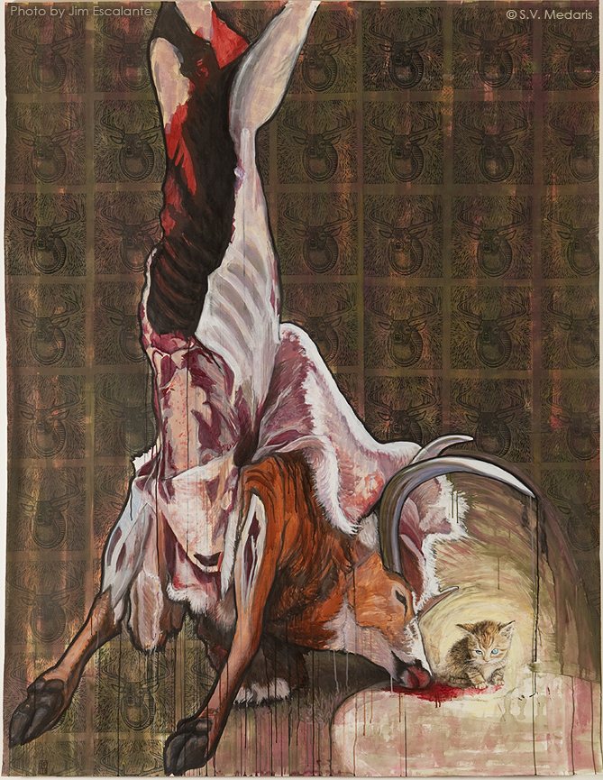 mixed media work of hanging deer carcass and small kitten licking up blood from it