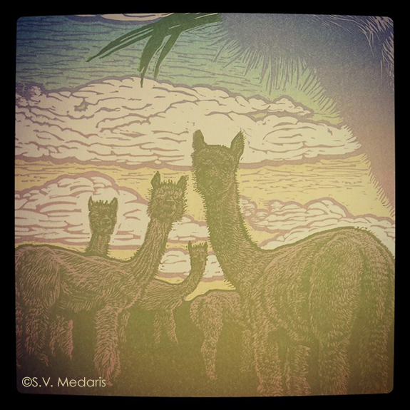 Alpaca Sky blockprint becomes more detailed with the additional layer of green ink.
