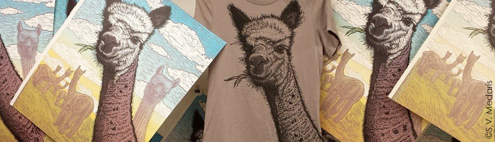 full-color print on paper of Alpaca munching on grass, and black print on brown shirt of same Alpaca. Blockprint by S.V. Medaris