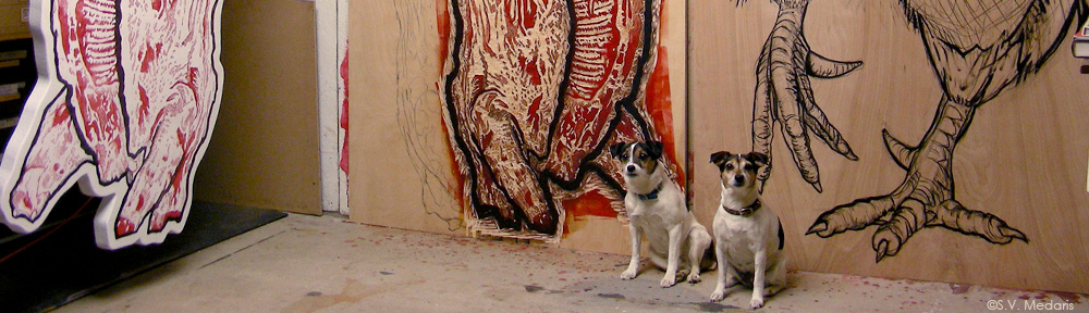 8ft woodcuts and little tri-colored terrier dogs