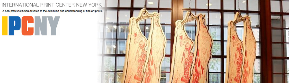 Carcasses from the Meat Locker hanging in midtown Manhattan gallery for IPCNY Big Picture Show
