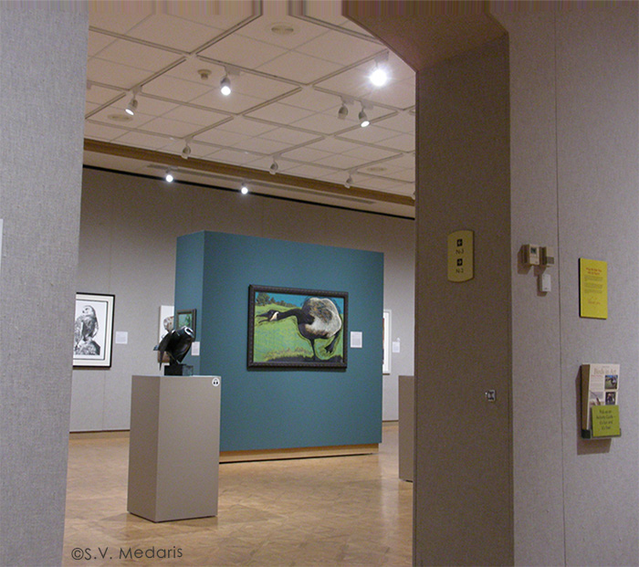 museum interior with teal wall and goose print and others