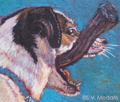 Oil painting detail of face of terrier with big stick in mouth