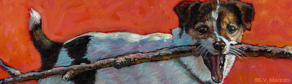 close-up of oil painting of little dog with very big stick