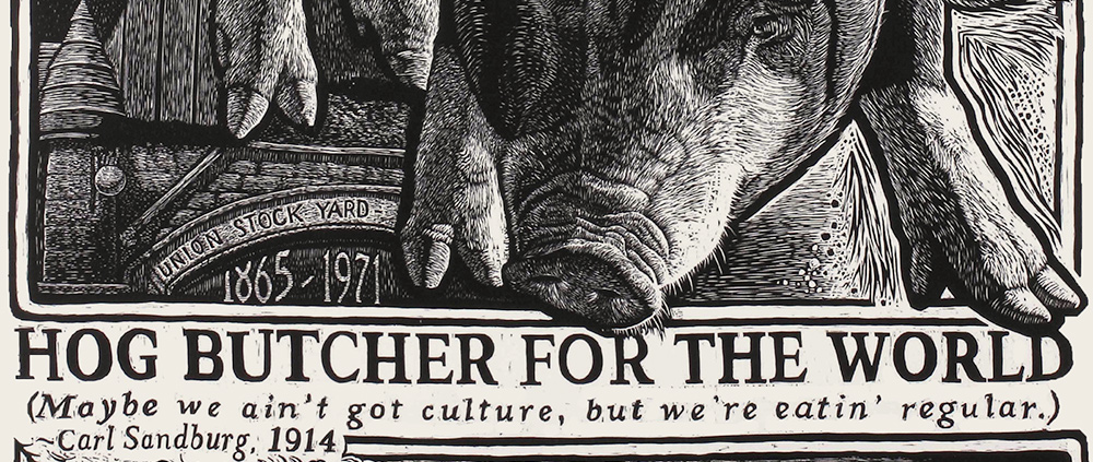 Text on woodcut reads: Hog Butcher for the World...""