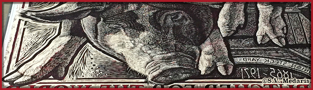 detail from large woodblock showing berkshire hog face and forelegs