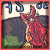 Pas de Deux linocut, detail of rooster head