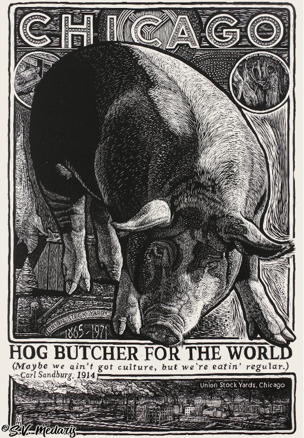 black and white woodcut print of giant hog angling down from 'Chicago' theatre sign to the 'Hog Butcher for the World' text