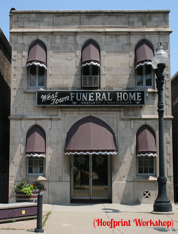 photo of storefront of 'West Town Funeral Home'