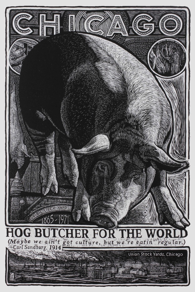 woodcut of giant pig and text: 'Chicago...Hog Butcher for the World' by S.V. Medaris