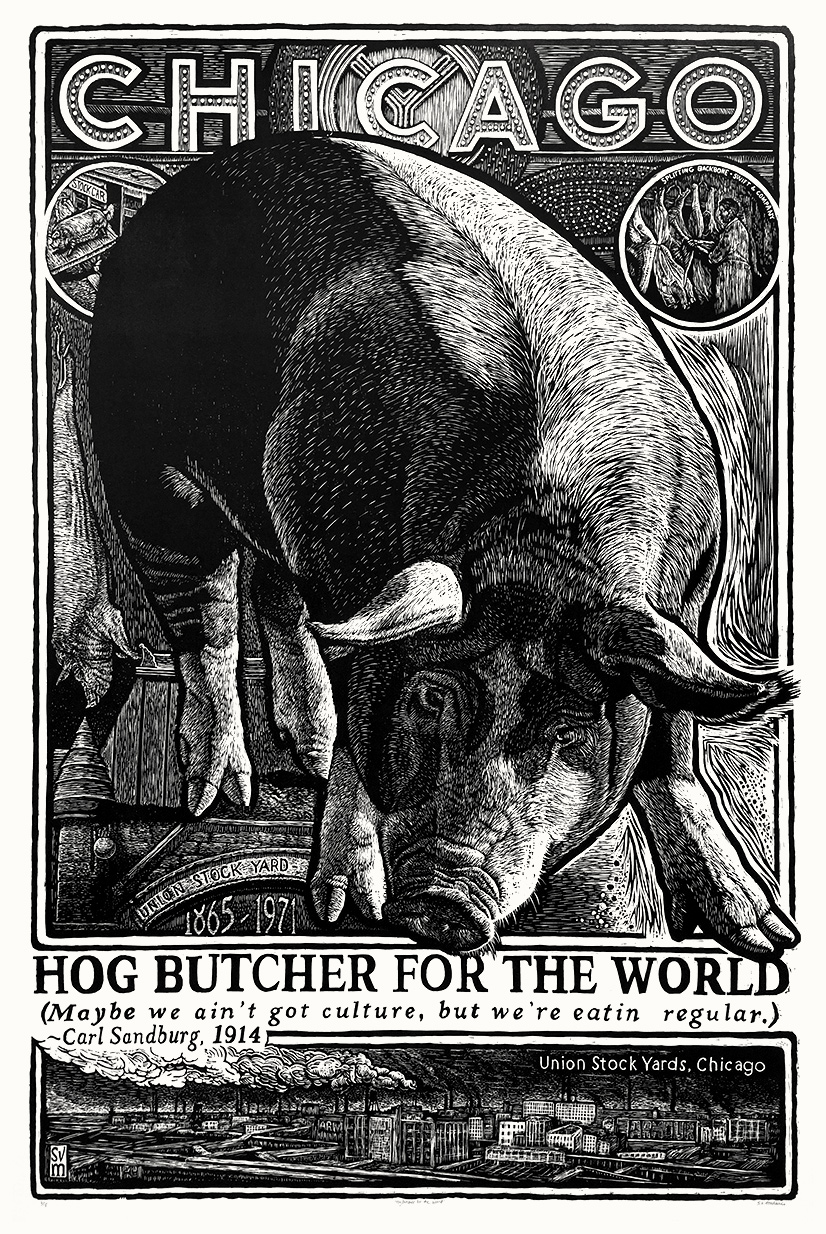 photo of b/w woodcut on paper of hog and the title 'Chicago' at top with scenes from the Stockyards