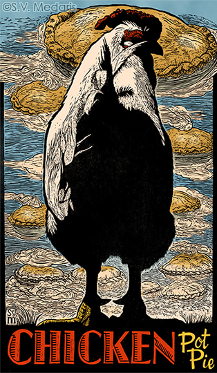 5ft tall, hand-coloured woodcut, by S.V. Medaris, of a  Giant White Wyandotte, standing atop letters 'Chicken Pot Pie'