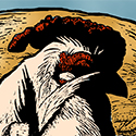 head of White Wyandotte, detail from hand-coloured, 5ft woodcut 'Chicken Pot Pie' by S.V. Medaris
